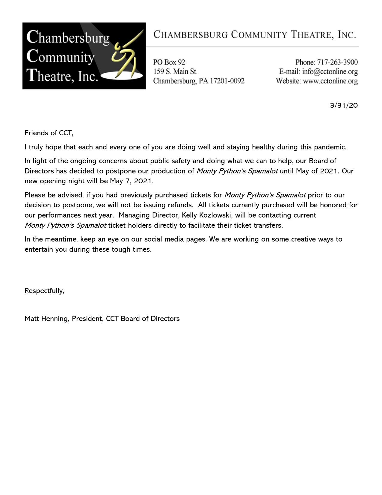 Spamalot Postponement Letter